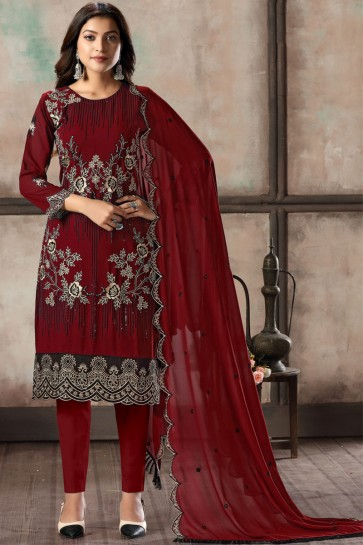 Embroidered Lace Work Red Faux Georgette Fabric Salwar Kameez With Dupatta