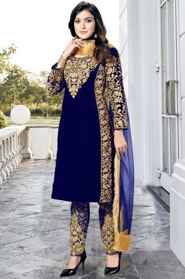 Embroidered Lace Work Blue Velvet Fabric Salwar Kameez With Dupatta
