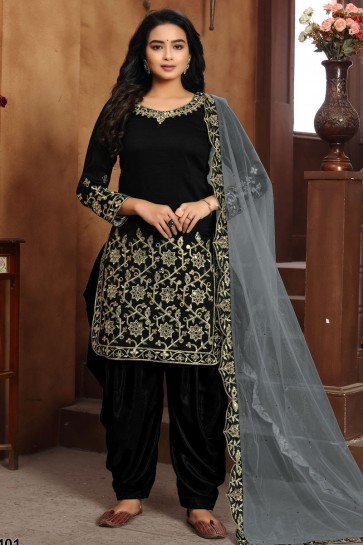 Black Embroidered Lace Work Art Silk Designer Patiala Suit With Dupatta