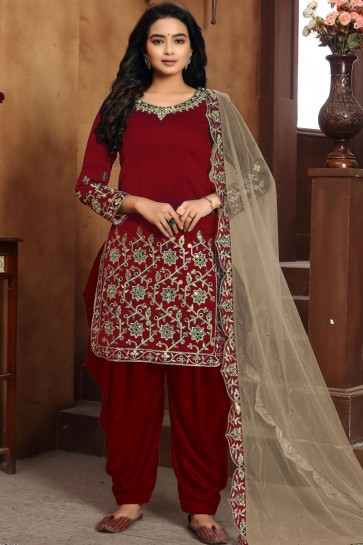 Embroidered Lace Work Red Art Silk Fabric Patiala Suit With Dupatta