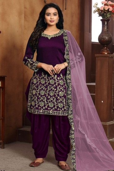 Purple Embroidered Lace Work Art Silk Patiala Suit With Dupatta