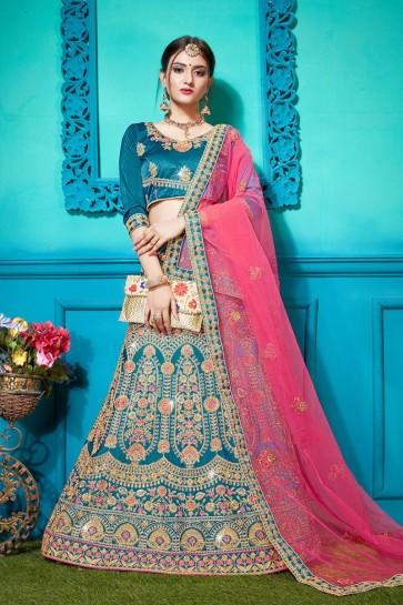 Ultimate Teal Silk Embroidered Designer Lehenga Choli With Net Dupatta