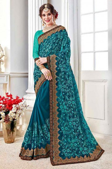 Pretty Turquoise Fancy Fabric Embroidered Designer Saree With Fancy Fabric Blouse