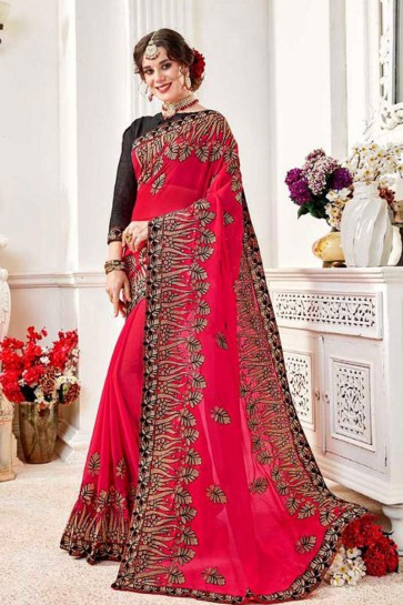 Desirable Magenta Fancy Fabric Embroidered Designer Saree With Fancy Fabric Blouse