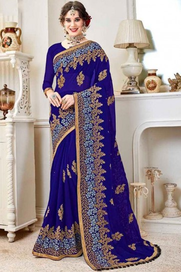 Classic Blue Fancy Fabric Embroidered Designer Saree With Fancy Fabric Blouse