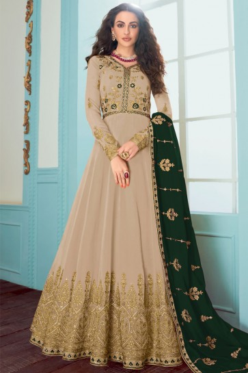 Grey Fuax Georgette Embroidered Abaya Style Anarkali Suit With Georgette Dupatta