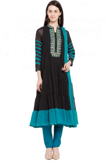 Classic Black Faux Georgette and Faux Crepe Churidar Bottom Plus Size Readymade Salwar Suit