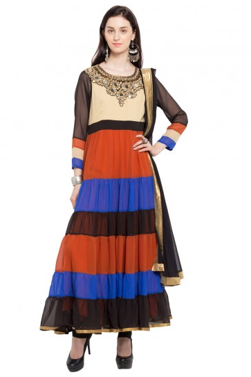 Gorgeous Multi Color Faux Georgette and Faux Crepe Bottom Plus Size Readymade Salwar Suit