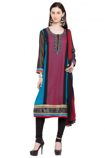 Excellent Multi Color Georgette Churidar Plus Size Readymade Salwar Suit with Faux Chiffon Dupatta