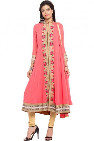 Pretty Peach Faux Georgette and Faux Crepe Churidar Bottom Plus Size Readymade Anarkali Salwar Suit