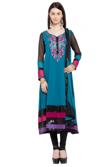 Graceful Blue Faux Georgette Plazzo Plus Size Readymade Anarkali Salwar Suit With Faux Chiffon Dupatta