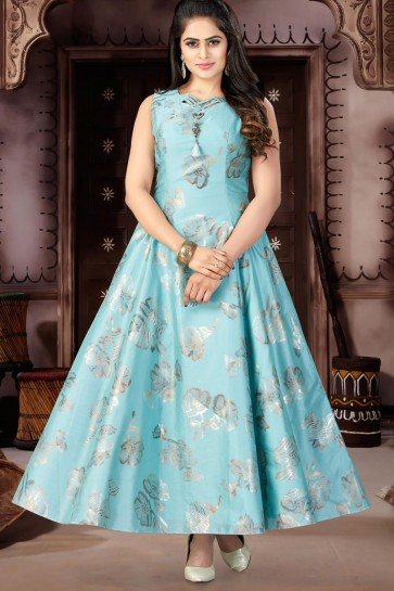 Beautiful Sky Blue Chanderi and Lycra Churidar Bottom Plus Size Readymade Gown