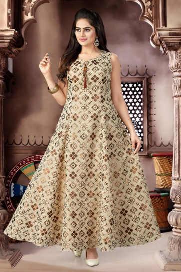 Charming Beige Cotton and Lycra Churidar Bottom Plus Size Readymade Gown