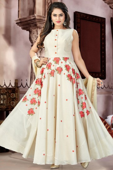 Ultimate Cream Chanderi Churidar Plus Size Readymade Gown with Chiffon Dupatta