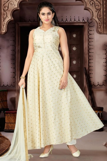 Lovely Cream Chanderi and Lycra Churidar Plus Size Readymade Gown With Chiffon Dupatta