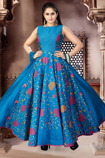 Desirable Blue Chanderi and Lycra Churidar Plus Size Readymade Jewel Neck Style Gown
