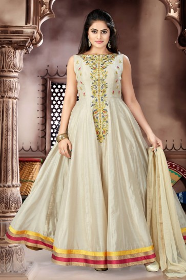 Graceful Beige Chanderi Plus Size Readymade Gown With Chiffon Dupatta
