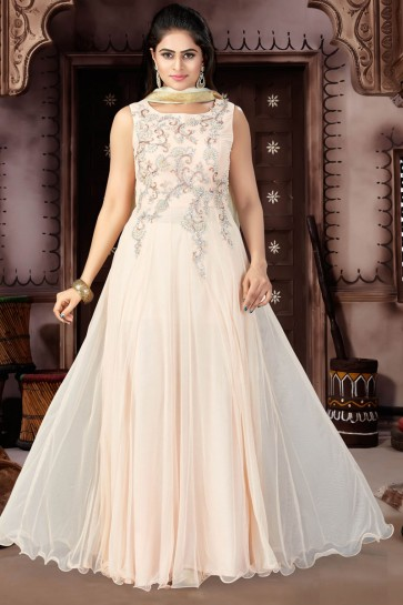 Gorgeous Peach Net Churidar Plus Size Readymade Gown with Chiffon Dupatta