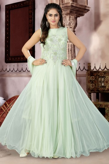 Ultimate Green Net Churidar Plus Size Readymade Gown with Chiffon Dupatta