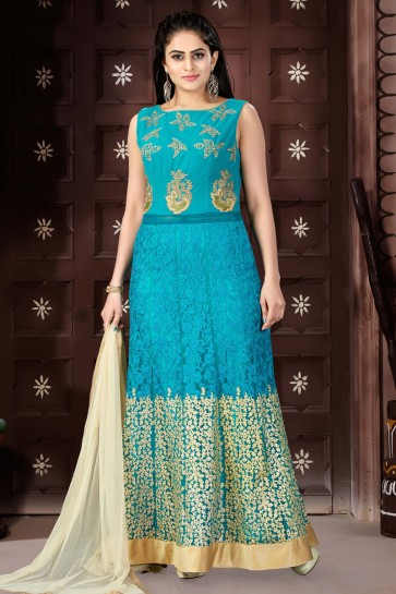 Lovely Sky Blue Chanderi Churidar Plus Size Readymade Gown With Chiffon Dupatta