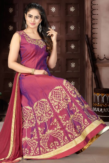 Excellent Maroon Chanderi Churidar Plus Size Readymade Gown With Chiffon Dupatta