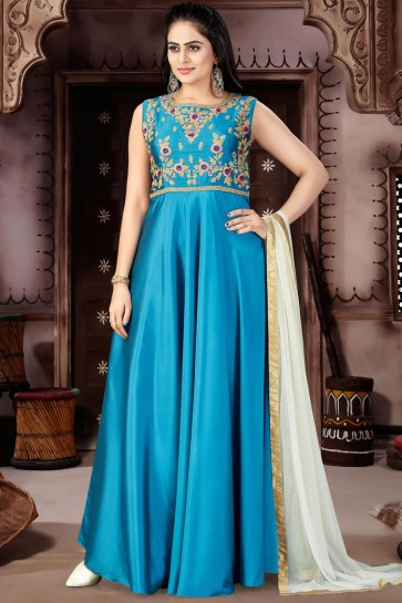 Graceful Blue Chanderi and Lycra Churidar Plus Size Readymade Gown With Chiffon Dupatta
