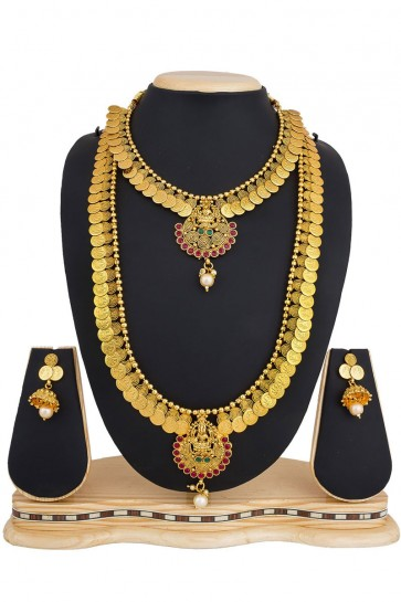 Graceful Golden Alloy Necklace Set