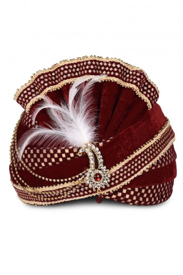 Gorgeous Maroon Velvet Zari Work Turban