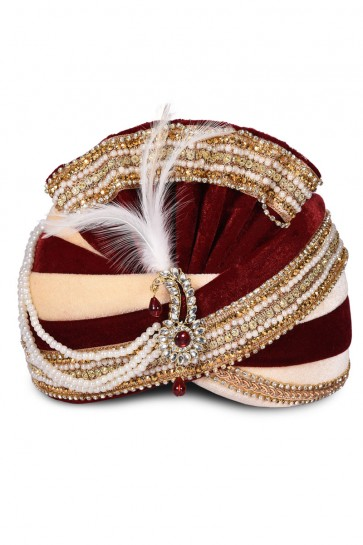 Excellent Maroon Velvet Stone Work Turban