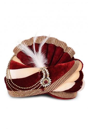Supreme Maroon Velvet Stone Work Turban