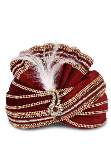 Admirable Maroon Velvet Stone Work Wedding Safa