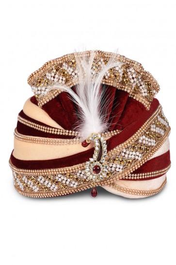 Beautiful Maroon Velvet Stone Work Turban