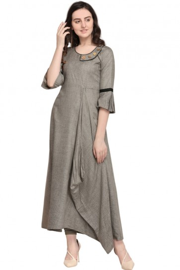Graceful Grey Rayon Plain Kurti