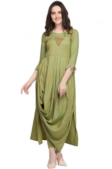 Classic Green Rayon Plain Kurti