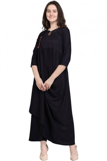 Gorgeous Black Rayon Plain Kurti