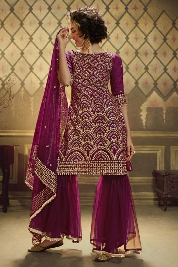 Net Purple Sequence Embroidered Work Plazzo Suit With Net Dupatta