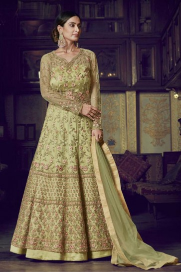 Abaya Style Yellow Embroidered Net Anarkali Suit With Net Dupatta