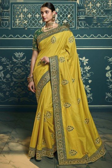 Silk Yellow Embroidered Lace Work Designer Saree With Blouse