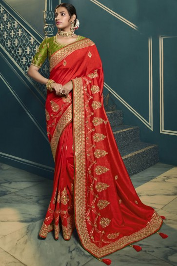 Red Silk Embroidered Lace Work Saree With Blouse