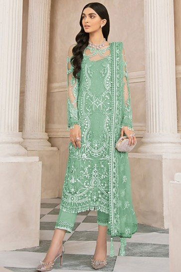 Green Embroidered Stone Work Net Fabric Plazzo Suit Whit  Dupatta