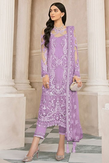 Net Embroidered Stone Work Designer Purple Plazzo Suit With  Dupatta
