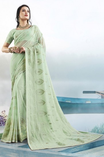 Light Green Georgette Fabric Gotta Patti Thread Work Designer Saree With Blouse