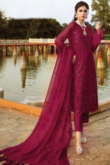 Georgette Designer Maroon Embroidered Patch Work Pakistani Suit With Dupatta