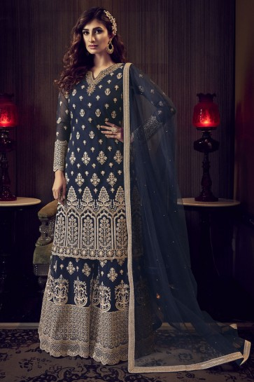 Embroidered Stone Work Net Fabric Navy Blue Plazzo Suit With  Net Dupatta