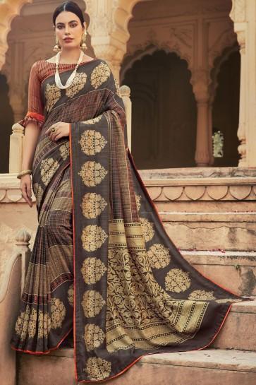 Chanderi Silk Fabric Multicolor A Designer Saree With Blouse
