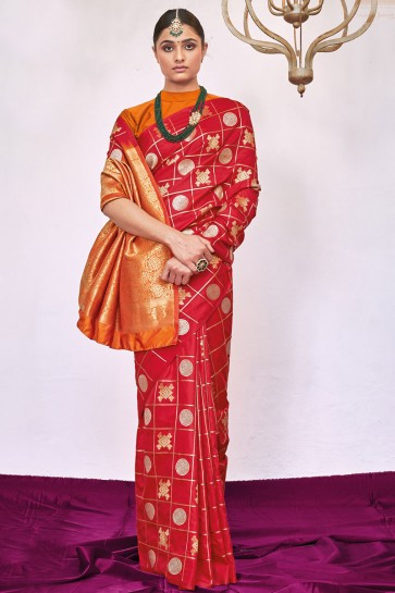 Red Weaving Silk Fabric Weaving With Jacqaurd Work Designer Saree With Blouse