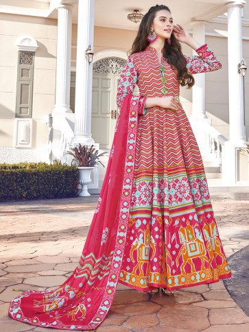 Digital Printed Silk Fabric Multicolor Anarkali Suit With   Dupatta