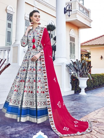 Grey Digital Printed Silk Fabric Anarkali Suit Whit  Dupatta
