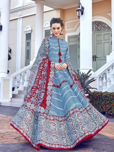 Digital Printed Silk Sky Blue Anarkali Suit With  Dupatta