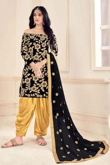 Velvet Embroidered Stone Work Designer Black Patiala Suit With Net Dupatta